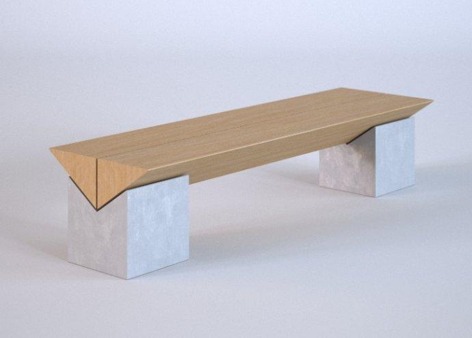 Ławka betonowa z drewnianym siedziskiem