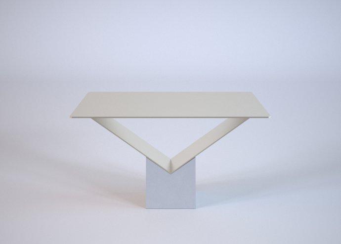 Stół betonowy z metalowym blatem